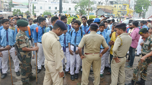 Students of a government school gather outside a police station to seek release of two of their fellow students detained during an academic protest in Agartala on Friday. Image: Indigenousherald