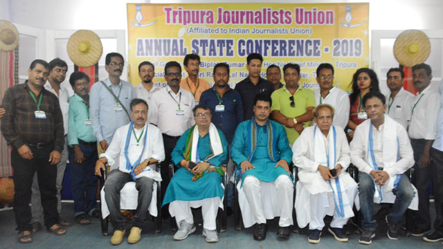 Tripura Chief Minister Biplab Kumar Deb, guests and senior journalists at the annual state conference of Tripura Journalists Union in Agartala. Image: Indigenousherald