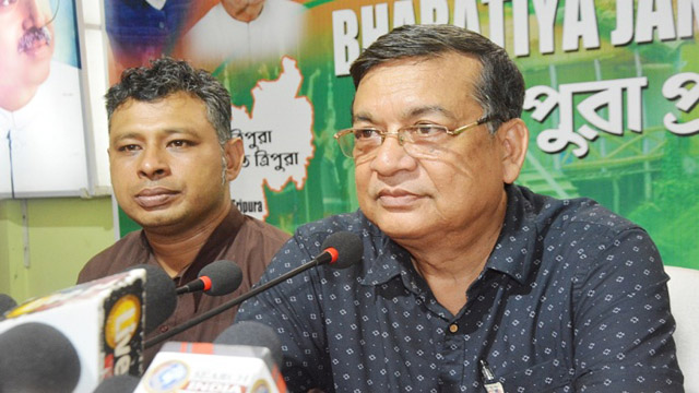 Tripura BJP Chief Spokesperson Dr Ashok Sinha and Spokesperson Nabendu Bhattacharjee address newsmen on attacks on party workers. Image: Indigenousherald